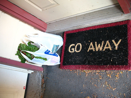 """Go Away"" welcome mat"
