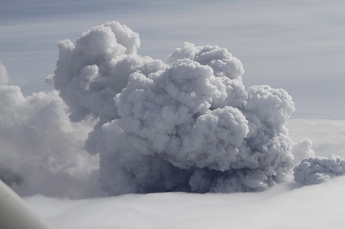 Ash cloud, white - Smoke billows from a volcano in Eyjafjallajokull