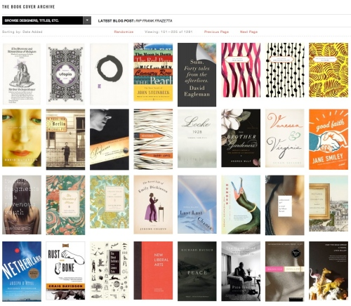 Book cover archive – screen shot of home page