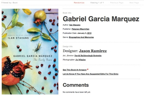 """""""Gabriel Garcia Marquez - the early years"""", screen shot of cover"""