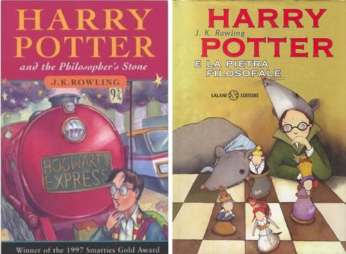 """Harry Potter and the Philosopher's Stone"", by J K Rowling. UK version (left) and Italian version (right)"