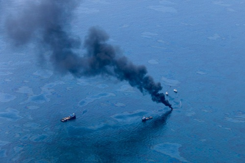 Smoke plume rising from sea, BP oil spill, Gulf of Mexic