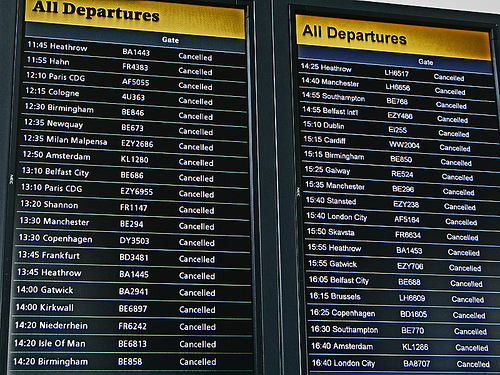 Cancelled flights, Edinburgh airport