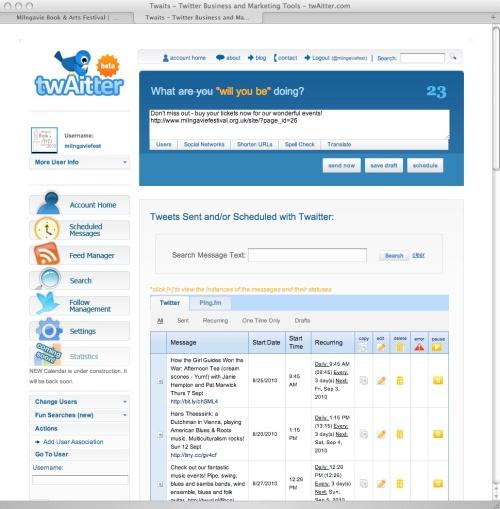 Twaitter screenshot - scheduled messages