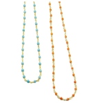 Coral and turquoise chain necklace by Julie Tuton