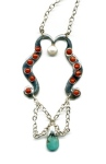 Turquoise and coral pendant necklace by Circe