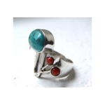 Turquoise and coral ring by Circe