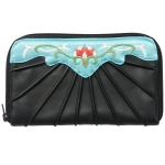 Black wallet with turquoise and coral embroidery, by Toan