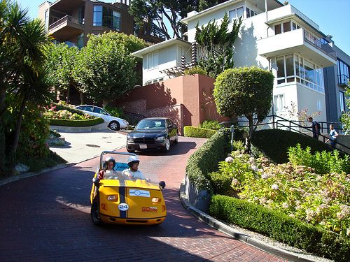 Cars driving down Lombard St, San Francisco